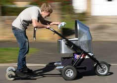 A lazy new dad has built the world¿s fastest motorised pram to save the effort of having to push it