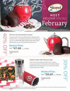 Book your February home parTEA, book parTEA, online parTEA or office parTEA and take advantage of these amazing Host Specials!  www.mysteepedtea.com/parTEAmama