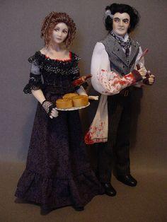 SWEENEY TODD AND MRS LOVETT: Dollshouse dolls by Debbie Dixon-Paver