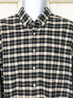 fae2dabd1 Ralph Lauren Classic Fit Plaid Button Down Shirt Mens Sz XL Blue Yellow  Ivory