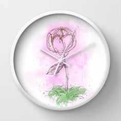 Rose Wall Clock by Escrevendo e Semeando - $30.00