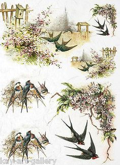 RICE DECOUPAGE PAPER / SWALLOWS 1/ CRAFT PAPER / DECOUPAGE SHEETS / SCRAPBOOKING