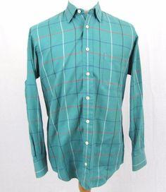 6e8afb6dfad81 Burberry Vintage Sport Shirt Medium Blue Teal Window Plaid Check Imported  Cotton  Burberry  ButtonFront