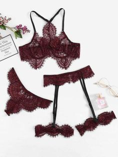 SheIn offers Eyelash Lace Garter Lingerie Set & more to fit your fashionable needs. Click Pic for the Hottest Lingerie Online Sexy Lingerie, Lingerie Plus, Lingerie Outfits, Lingerie Shoot, Sexy Outfits, Cute Outfits, Lace Lingerie Set, Luxury Lingerie, Lace Garter