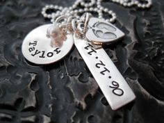 Personalized Necklace - Hand Stamped Jewelry - My Baby Footprints On My Heart. $66.00, via Etsy.