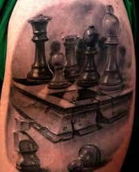 What does chess tattoo mean? We have chess tattoo ideas, designs, symbolism and we explain the meaning behind the tattoo. Wolf Tattoos, Feather Tattoos, Tribal Tattoos, Tatoos, Chess Piece Tattoo, Black Panther Tattoo, Lillies Tattoo, Tattoo Quotes For Men, Games