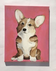 """Corgi Acrylic Painting, dog home decor, wall hanging, wall art For sale on Etsy! Dimensions: 20"""" x 16"""""""