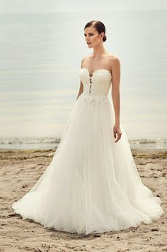 40828010bd6 View Plunging Sweetheart Wedding Dress - Style from Mikaella Bridal.  Strapless sweetheart lace bodice with plunging neckline.