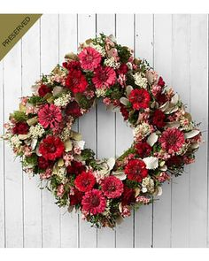 Bold Impressions Zinnia Wreath ~ Dried and Preserved by FTD