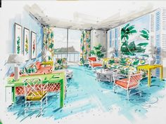 An on the spot rendering done by Dorothy Draper while she was with a client