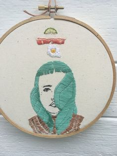 Hoop art wall art hand embroidery original art by OddAnaStitch