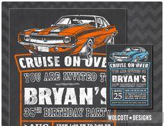 Camaro Hot Rod Birthday Invitation, Camaro Invitation, Classic Car invite, Vintage Car, Chalkboard Style, Hot Rod Party, 69 Camaro Classic by WolcottDesigns on Etsy