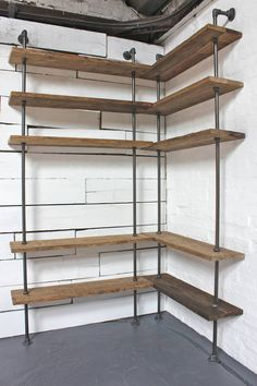 Bespoke Dark Oak Stained Reclaimed Scaffolding Boards and Steel Pipe, Floor and Wall Mounted, Corner Shelving Unit - Its salvaged vintage industrial Corner Shelving Unit, Corner Bookshelves, Room Shelves, Corner Shelves Living Room, Bookshelf Design, Shelf Wall, Pipe Shelves, Floating Shelves, Industrial Shelving