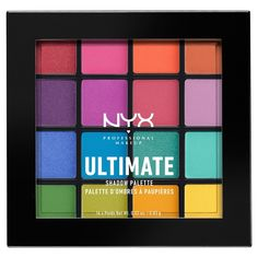 Ultimate Shadow Palette - Brights by NYX Professional Makeup I just love this eyeshadow palette and it's perfect for creating rainbow looks - I'm thinking mermaids and unicorns! Bright Eyeshadow, Pigment Eyeshadow, Eyeshadow Looks, Makeup Eyeshadow, Lipstick Dupes, Colorful Eyeshadow, Maybelline Concealer, Make Up Palette, Nyx Palette
