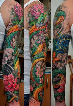 Juxtapoz Magazine - The Tattoo work of Dmitriy Samohin Japanese Snake Tattoo, Japanese Tattoo Designs, Japanese Sleeve Tattoos, Full Sleeve Tattoos, Chinese Tattoos, Body Art Tattoos, Hand Tattoos, Cool Tattoos, Tattoo Ink