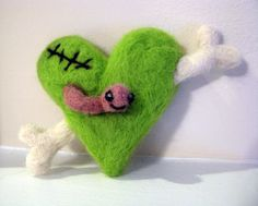 My Zombie Valentine - Needle Felted Ornament - Made to Order