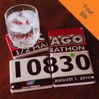 Your Race Bib on Set of 4 Coasters BibCOASTERS