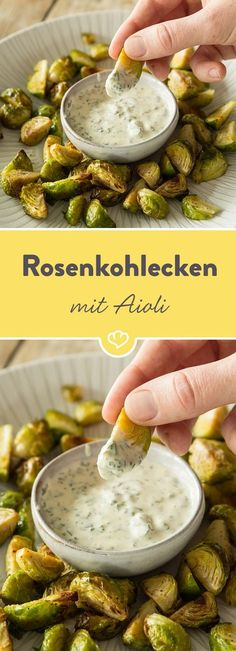 Rose coal corners with aioli- Rosenkohlecken mit Aioli Brussels sprouts in a different way: The tender winter vegetables can not only be served as a side dish, but also prove excellent finger food skills. Barbecue Sauce Recipes, Grilling Recipes, Paleo Recipes, Low Carb Recipes, Bbq Sauces, Pizza Recipes, Recipes Dinner, Free Recipes, Vegan Snacks