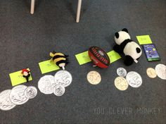 Teaching Australian Money - ideas for the classroom and Australian coin printables | you clever monkey-Next lesson, I'd placed a selection of toys in the middle of our circle - all with different prices on them.  I asked the students to sort them from the least to the most expensive then we found the best way to pay for them using our giant coins.