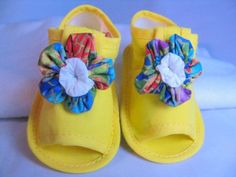 Yellow Infant Shoes with Flower | Wyverndesigns - Children's on ArtFire