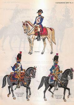 Napoleone, granatire a cavallo e gendarme d'élite della guardia imperiale francese