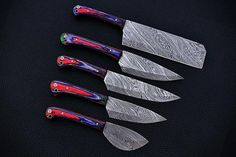 |NB KNIVES| CUSTOM HANDMADE DAMASCUS 5 PCS CHEF SET WITH LEATHER ROLL – NB Knives Damascus Sword, Damascus Ring, Damascus Chef Knives, Damascus Steel, Dagger Knife, Leather Roll, Chef Knife, Folding Knives, Kitchen Knives