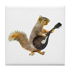 06b3ac4f755ee Squirrel Mandolin Tile Coaster on CafePress.com Squirrel Art