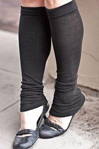 Flat Knit Cuffed Leg Warmers