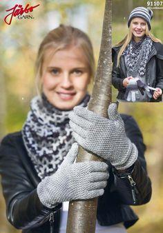 Crochet hat, finger gloves and scarf.