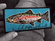 """Embroidered Rainbow Trout Iron On Fish Art Patch 5.5""""x2.5"""" by andrealarko on Etsy https://www.etsy.com/listing/519159237/embroidered-rainbow-trout-iron-on-fish"""
