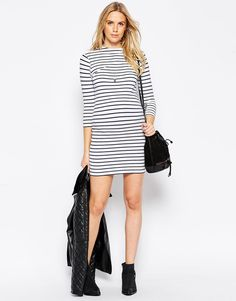 ASOS Maternity Bodycon Dress With High Neck In Stripe