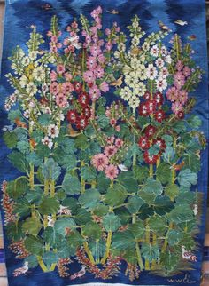 All works unique. Hollyhocks bloom all over the Ramses Wissa Wassef Art Centre from May till August. Hollyhocks, Nagah Ibrahim, Wool Tapestry, x m x 58 inches) Read Sculpture Textile, Textile Fiber Art, Tapestry Weaving, Weaving Art, Wall Tapestry, Flower Quilts, Landscape Quilts, Hollyhock, Wool Applique