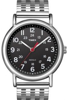Timex Unisex T2N655 Weekender Black Dial Stainless Steel Bracelet Watch