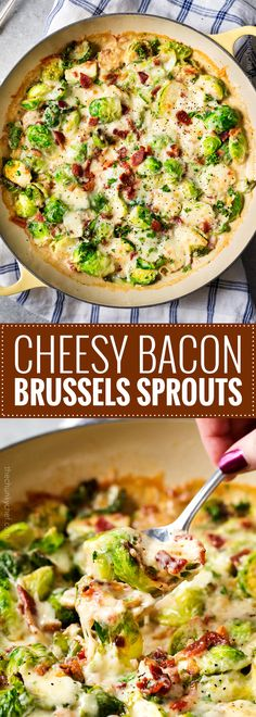 Cheesy Brussels Sprouts with Bacon | These Brussels sprouts are sautéed with shallots and garlic, topped with cream, two types of cheese, sprinkled with bacon, and baked until bubbly. It will convert even the most die hard Brussels sprouts haters! | thechunkychef.com