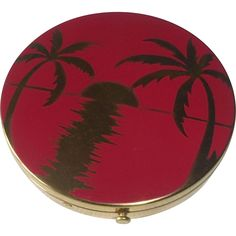 Rex 5th Ave Red Enamel Compact Setting Sun & Palm Trees, c 1940s