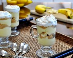 Banana Cream Pudding Parfaits, it's Banana Cream Pie in a cup. One pudding recipe for parfaits, pie, pavlova and even (yummm) just plain with chopped banana.