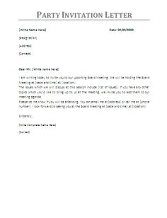 free sample formal invitation letter to