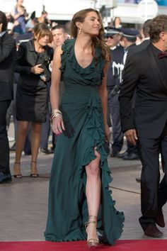 Like always, no words for Carlota Casiraghi in Gucci green maxi dress