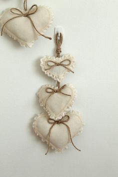 SHABBY CHIC DECOR Hearts Hanging Wall Decor by creativecarmelina, $20.00