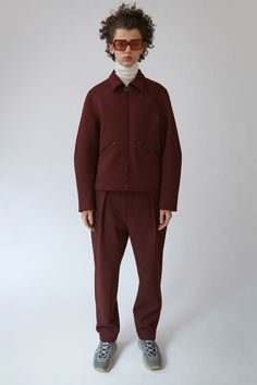 Acne Studios Miles burgundy/ink blue is a cropped blousin jacket with ergonomic sleeves and a contrasting back.