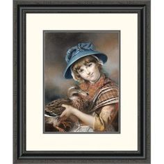 Global Gallery 'A Market Girl Holding a Mallard Duck' by John Russell Framed Painting Print Size: