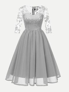 42ac046b83d99 Vinfemass V-neck Lace Mesh Patchwork Embroidery Party Skater Dress. Abiti  Hoco