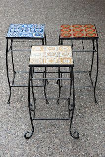 Wrought iron tables with tiles, love!  visit stonecountyironworks.com for more wrought iron designs!