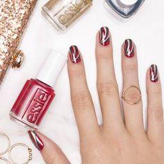 Very Merry Metallic - Winter Stripe Swirls Nail Art Design - Essie Nail Polish Looks