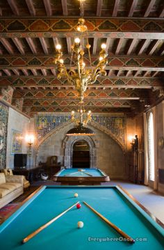 Hearst Castle, California ! A 15th century Spanish ceiling adorns the billiard room !