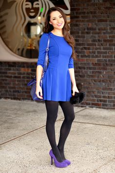 Tights and Pantyhose Fashion Inspiration. Different shoes and purse for sure. Love the shape of the dress and tights though! Pantyhose Fashion, Pantyhose Outfits, Fashion Tights, Nylons, Black Tights, Opaque Tights, Black Pantyhose, Hapa Time, Beauty