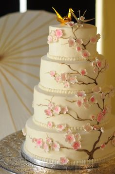 Cherry Blossom wedding cake with origami crane in wedding color scheme. I would ditch the origami but the cake is beautiful Cherry Blossom Theme, Cherry Blossom Wedding, Cherry Blossoms, Wedding Cakes With Flowers, Elegant Wedding Cakes, Beautiful Cakes, Amazing Cakes, Beautiful Wedding Cakes, Simply Beautiful