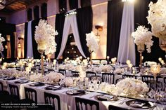 classic wedding reception tabletop with white orchids
