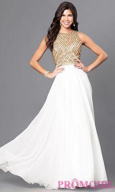 Jeweled Bodice Long Sleeveless Prom Dress