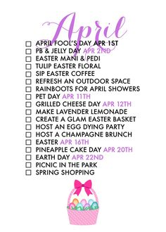 April Seasonal Living List by Paper & Glam - Spring it on!